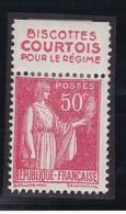 PUBLICITE: TYPE PAIX 50C ROUGE BISCOTTES COURTOIS-pour Le Régime ACCP 777 NEUF* - Advertising