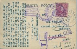 1924 , VENEZUELA , TARJETA POSTAL CIRCULADA , MARACAIBO - PANAMA , TASA , TRÁNSITO , LLEGADA - Venezuela