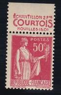 PUBLICITE: TYPE PAIX 50C ROUGE COURTOIS-échantillon 2frs Houilles ACCP 779 NEUF* - Advertising