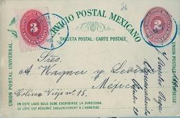 1890 , MÉXICO , ENTERO POSTAL CIRCULADO , AGUASCALIENTES - MÉXICO D.F. , FRANQUEO COMPLEMENTARIO, LLEGADA AL DORSO - México