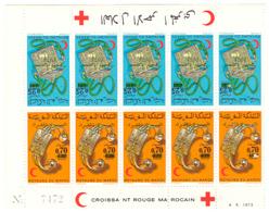 Planche De 10 Timbres Maroc. 5 Paires Tête-bêche De  1975. N° 744A. Bijoux. Surtaxe Et Surcharge Marche Verte. - Maroc (1956-...)