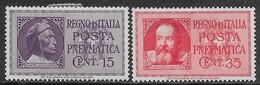 Italia Italy 1933 Regno Dante Alighieri E Galileo Galilei Pneumatica Sa N.PN14-PN15 Completa Nuova MH * - Poste Pneumatique
