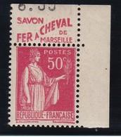 PUBLICITE: TYPE PAIX 50C ROUGE FER A CHEVAL-savon De Marseille ACCP 800 NEUF** - Advertising