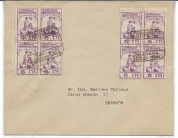 España. Carta Circulada Por Correo Certificado Con Bloque De Sellos Locales De Granada - 1931-Hoy: 2ª República - ... Juan Carlos I