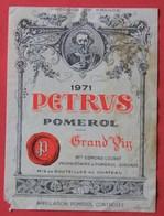 Etiquette  PETRUS  1971 De Chez Loubat à Pomerol, En L'état - Bordeaux