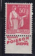 PUBLICITE: TYPE PAIX 50C ROUGE MANGEZ DU POISSON DE DIEPPE ACCP 883 NEUF** - Advertising
