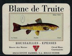 Rare // Etiquette De Vin // Poissons // Cully, Blanc De Truite - Poissons