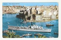 CT--02724-- MALTA - THE GRAND HARBOUR - BARCHE-BATTELLO TURISTICO-VIAGGIATA 1966 - Malta