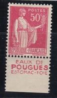 PUBLICITE: TYPE PAIX 50C ROUGE EAUX DE POUGUES-estomac Foie ACCP 898 NEUF* - Advertising