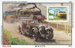 1988 Bolivia Bentley/Zug Autoi/train Race Automobiles Trains   Souvenir Sheet  MNH - Bolivia