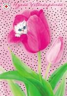 Cat - Kitten Looking In Flower By Raija Riihimäki - Red Cross - Finnish Post Itella Oyj - Postage Payed - Croix-Rouge