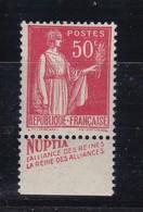PUBLICITE: TYPE PAIX 50C ROUGE ALLIANCES NUPTIA-alliance Des Reines ACCP 880 NEUF** - Advertising