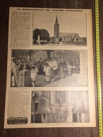 ANNEES 20/30 LA RESTAURATION DE L EGLISE D ANNAPPES M DE MONTALEMBERT MAIRE NOUVELLES CLOCHES - Old Paper