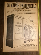 ANNEES 20/30 PUBLICITE LA CAISSE FRATERNELLE DE CAPITALISATION LILLE 42 RUE D ARTOIS - Old Paper