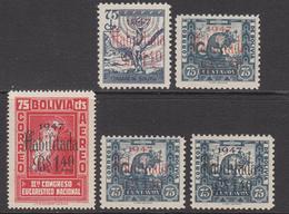 1947 Bolivia Habiltado Surcharges Overprints  Complete Set Of 5 MNH - Bolivia