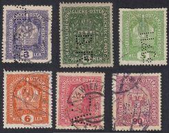 AUSTRIA -  OSTERREICH - 1916/1918 - Lotto 6 Francobolli Usati E/o Perfin: Yvert 143, 144, 145, 148, 156 E 160a - Gebraucht