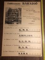 ANNEES 20/30 PUBLICITE ETABLISSEMENTS SARADIO 39 RUE DE GAND LILLE 1 3 ANATOLE FRANCE AMPLION SCOM - Old Paper