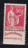 PUBLICITE: TYPE PAIX 50C ROUGE GALERIES BARBES-album Gratuit ACCP 815 NEUF** - Advertising