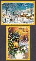97465/ NOUVEL AN, 2 Cartes, Paysage Habité, Lanterne - Anno Nuovo