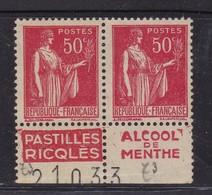 PUBLICITE: TYPE PAIX 50C ROUGE RICQLES EN PAIRE -pastilles-alcool De Menthe ACCP 908-918* - Advertising