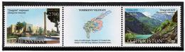 Uzbekistan.2018 Tashkent Region(Buildings,Map,Mountains). Strip Of 2v: 2700,2800+label - Uzbekistan