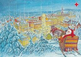 Santa Claus Waiting With Reindeers Sleigh - Marja-Liisa Pitkäranta - Red Cross 1995 - Suomi Finland - Postage Payed - Croix-Rouge