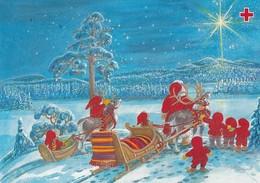 Santa Claus With Brownies And Reindeers - Marja-Liisa Pitkäranta - Red Cross 1995 - Suomi Finland - Postage Payed - Croix-Rouge