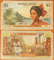 French Antilles 10 Francs 1964 P-8b - Territoires Français Du Pacifique (CFP)