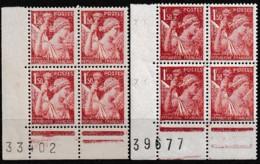 1944 Y&T 654 2 X B4CF Numérotés Variété Claire Et Normale N** - Curiosities: 1941-44 Mint/hinged