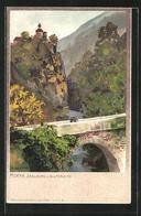Artista-Cartolina Zeno Diemer: Meran, Zenoburg U. Gilfbrücke - Italia