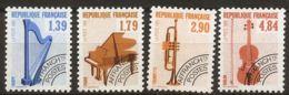 France Musci Instruments Precancelled 1989 4 Values MNH - Harp Piano Trumpet Violin - Musik