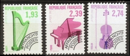 France Music Instruments Precancels 1990 3 Values MNH Harpe Piano Violin - 1989-....