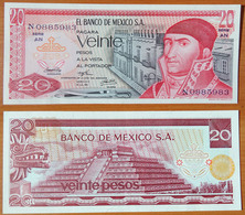 Mexico 20 Peso 1973 UNC Yellow Seal - Mexique