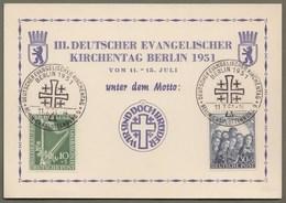 "Berlin: Sonderkarte, Berlin Michel-Nr. 72-73 SST: "" III. Deutscher Evangelischer Kirchentag Berlin 1951 ""     X - Gebraucht"