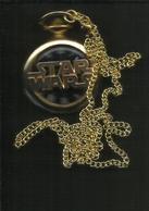 Star Wars Gold Pocket Watch Antique Darth Vader Episode 9 IX Disney With Chain - Montres Gousset