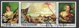 ARABIA DEL SUD-EST - 1970  RAS AL KHAIMA QUADRI DEL TIEPOLO YVERT. 55+POSTA AEREA 34 TRITTICO USATO VF - Collections (en Albums)