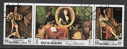 ARABIA DEL SUD-EST - 1970  RAS AL KHAIMA  QUADRI FIGURA DI LUIGI XIV YVERT. 49 TRITTICO USATO VF - Ra's Al-Chaima