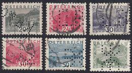 AUSTRIA -  OSTERREICH - 1932 - Lotto 6 Francobolli Usati (seconda Scelta) Perfin: Yvert 408, 409, 411, 412, 416 E 418 - Gebraucht