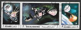 ARABIA DEL SUD-EST - 1970  RAS AL KHAIMA  APOLLO XIII YVERT. POSTA AEREA 43 TRITTICO USATO VF - Emirati Arabi Uniti
