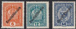 AUSTRIA -  OSTERREICH - 1918/1919 - Lotto 3 Francobolli Nuovi Senza Gomma: Yvert 171, 173 E 180. - 1918-1945 1st Republic