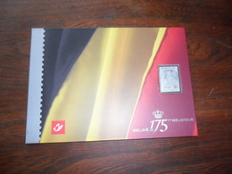 175 ANS BELGIQUE / TIMBRE EN ARGENT LEOPOLD 1er / ALBERT II + BLOC FEUILLET / FASCICULE CARTONNE - Belgium