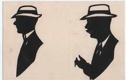 SILHOUETTE. 2 HOMMES Avec CHAPEAU. COLLAGE. HENRI HARRISON . SILHOUETTISTE. EXPOSITION De BRUXELLES 1910. - Silhouettes