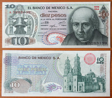 Mexico 10 Pesos 1975 AUNC Red Seal (Sign.1) - Mexique