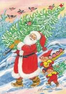 Santa Claus Bringing Christmas Tree With Brownies - Pitkäranta - Red Cross 1996 - Suomi Finland - Special Stamp Reindeer - Croix-Rouge