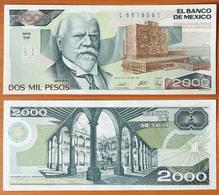 Mexico 2000 Pesos 1989 UNC (Sign.1) P-86c - Mexique
