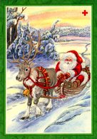Santa Claus Is Driving With Reindeer Sleigh - Pitkäranta - Red Cross 1997 - ÅLAND Ahvenanmaa - Postage Paid - Croix-Rouge