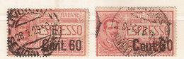 """(Fb).Regno.V.E.III.Espresso.1922.Due Val.Uno Con Varietà.60c Con La C Di """"Cent"""" E Il 6 Di 60 Più Grossi (352-16) - 1900-44 Vittorio Emanuele III"""