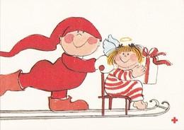 Brownie Is Taking Little Angel - Virpi Pekkala - Red Cross - Double Card - Croix-Rouge