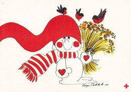 Brownie Feeding Little Birds - Virpi Pekkala - Red Cross - Double Card - Croix-Rouge