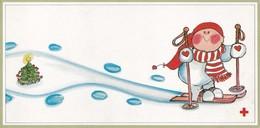 Brownie Is Skiing - Virpi Pekkala - Red Cross - Double Card - Croix-Rouge